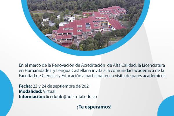Licenciatura en Humanidades y Lengua Castellana recibirá visita de pares académicos