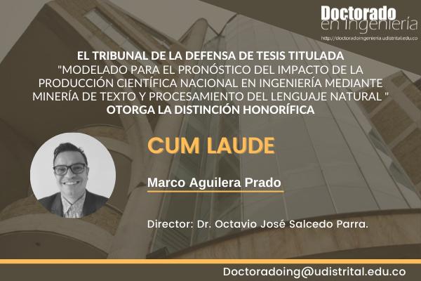 Distinción Cum Laude Marco Aguilera Prado a tesis de doctorando UD