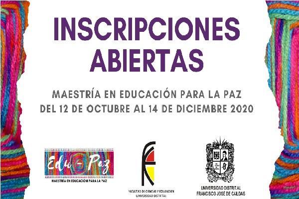 Imagen evento Abiertas inscripciones Maestría en Educación para la Paz 2021-1