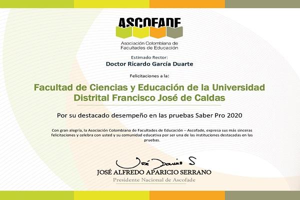 Imagen noticia: Facultad de Ciencias y Educación recibe reconocimiento por su desempeño en pruebas Saber Pro 2020