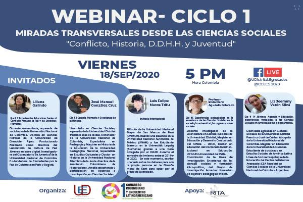 """Imagen publicación: Webinar Ciclo 1 : MIRADAS TRANSVERSALES DESDE LAS CIENCIAS SOCIALES:  """"Conflicto, Historia, DDHH y Juventud"""""""